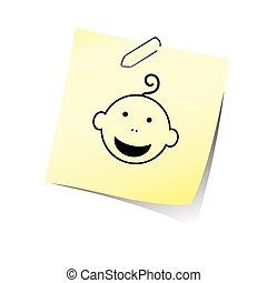 Eine Erinnerung mit Babykopf-Lächeln-Vektor.