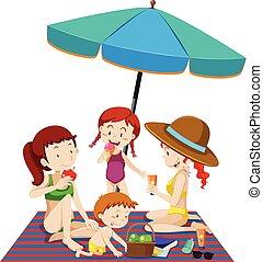 Eine Familie am Strand.