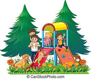 Eine Familie auf dem Spielplatz.