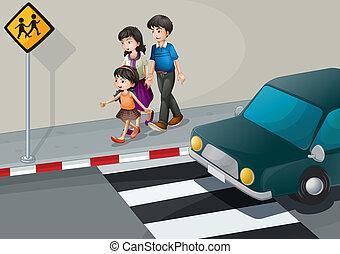 Eine Familie auf der Straße