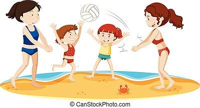 Eine Familie, die am Strand Volleyball spielt.