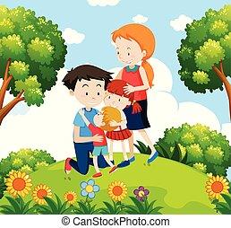 Eine Familie im Garten.