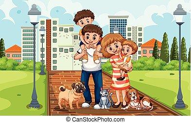 Eine Familie im Park.