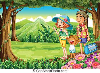Eine Familie im Wald.
