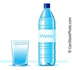 Eine Flasche sauberes Wasser und Glas auf weißem Hintergrund .Vector Illustration für Text