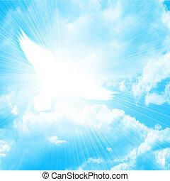 Eine fliegende Taube am blauen Himmel
