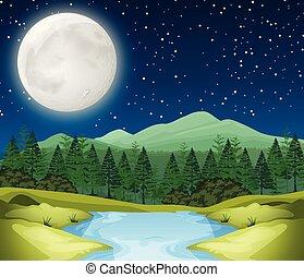 Eine Flussnachtsszene.