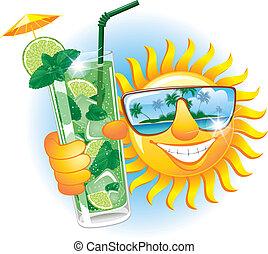 Eine fröhliche Sonne mit Cocktail