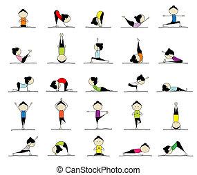 Eine Frau übt Yoga, 25 Posen für dein Design