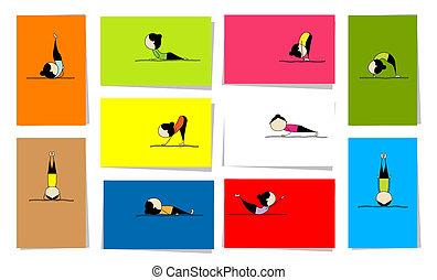 Eine Frau übt Yoga, zehn Karten für dein Design