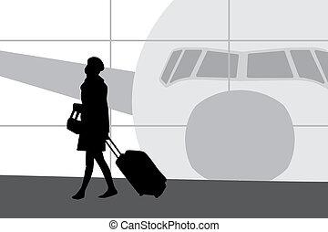Eine Frau auf dem Flughafen