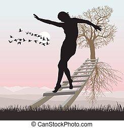 Eine Frau auf einer Leiter zum fliegenden Baum.