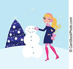 Eine Frau baut Winter-Weihnachts-Schneemann