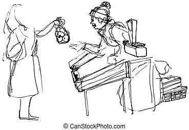 Eine Frau, die Äpfel kauft.