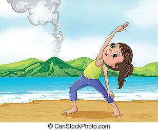 Eine Frau, die am Strand trainiert