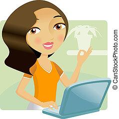 Eine Frau, die an ihrem Laptop arbeitet