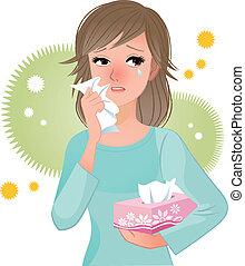 Eine Frau, die an Pollenallergi leidet.