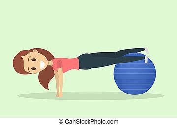 Eine Frau, die auf einem Pilatesball trainiert.