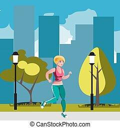 Eine Frau, die im Park läuft.
