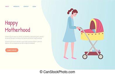 Eine Frau, die mit Buggy, Mutterschafts-Web-Vektor läuft