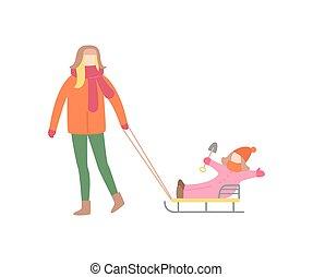 Eine Frau, die mit dem kleinen Mädchen auf Schlittenvektor läuft