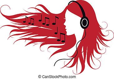 Eine Frau, die Musik hört