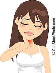 Eine Frau hat Halsschmerzen
