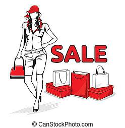 Eine Frau im Einkaufen