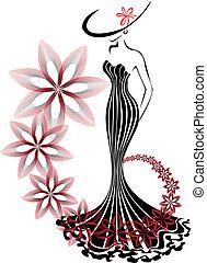 Eine Frau in einem Blumenwirbel