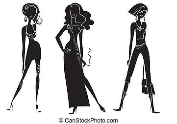 Eine Frau in Modeklamotten für Design auf weiß. Vektor-Modelle