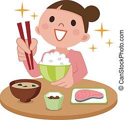 Eine Frau isst köstliches Essen