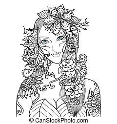 Eine Frau mit Blumen.