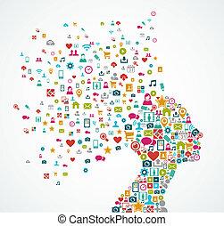 Eine Frau mit einer Silhouette aus sozialen Medien-Ikonen spritzt das Konzept Illustration. EPS10 Vektordatei organisiert in Schichten für leichte Schnitte.