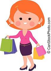 Eine Frau mit Einkaufstüten. Vector Illustration