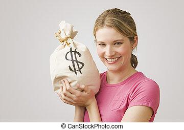 Eine Frau mit Geldbeutel