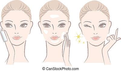 Eine Frau mit Hautcreme