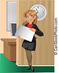 Eine Frau mit Hintergrund im Amt