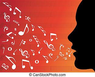 Eine Frau mit Musiknotizen