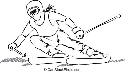 Eine Frau mit Skiausrüstung