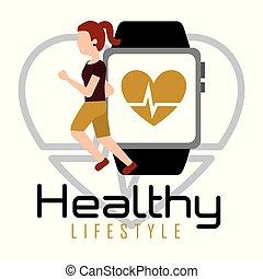 Eine Frau mit Smartphone Herzfrequenz gesundem Lebensstil.