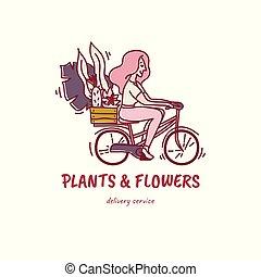 Eine Frau oder ein junges Mädchen, das Fahrrad mit einer Kiste voller Blumen und Pflanzen fährt - Kaktus, Monster, Sansevieria. T-Shirt-Druck, Stempel, Pin etc.