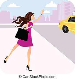 Eine Frau ruft ein Taxi