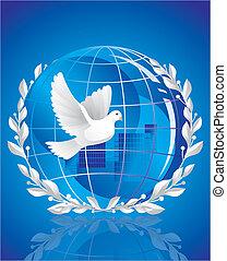 Eine friedliche Taube in der Nähe des Globus
