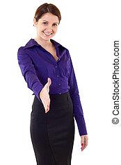 Eine Geschäftsfrau, die Hand wäscht
