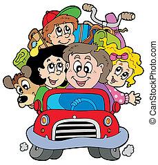 Eine glückliche Familie im Auto im Urlaub
