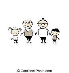 Eine glückliche Familie zusammen - Großeltern und Enkelkinder