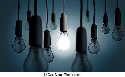 Eine Glühbirne leuchtete auf