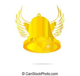 Eine goldene Glockensymbol isoliert