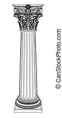 Eine griechische Säule isoliert auf weiß