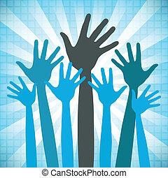 Eine große Gruppe glücklicher Hände.